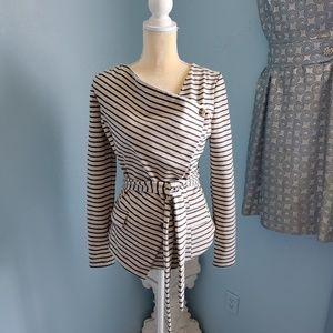 Ark & Co. striped belted blazer/jacket E45